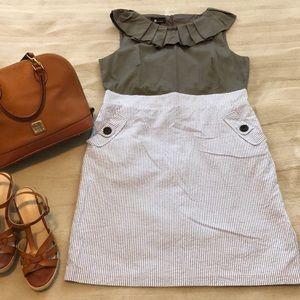 AB STUDIO Dark Grey, Blue & White Stripe Dress